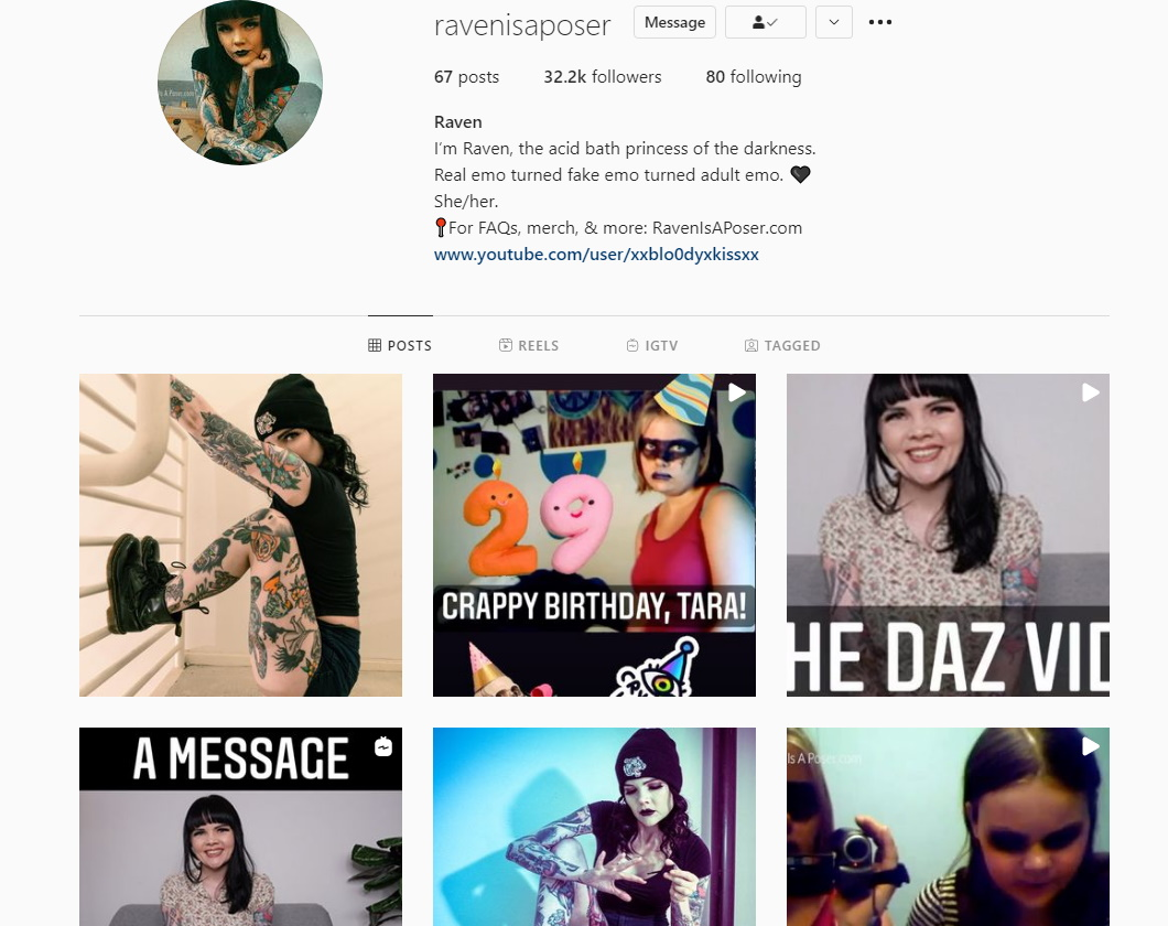 Photo of Raven's instagram