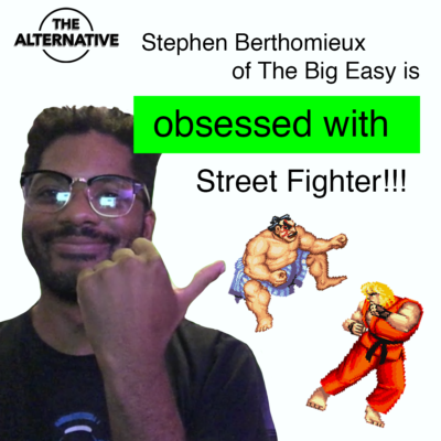 """a man in a black t-shirt and glasses pointing at imagery from a video game Street Fighter, w/ the headline reading """"Stephen Berthomieux of The Big Easy is obsessed with Street Fighter"""""""